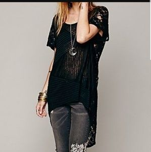 Free People Daydream Lace High Low Tunic Top